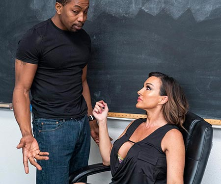 Aubrey Black titty fucking her new students massive black dick after class